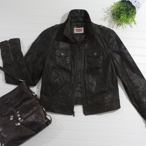 Dark Brown Levi Authentic Leather Jacket